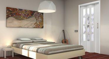 Puerta corredera de madera blanca con cristalera para habitación por Centro Armario (Madrid)